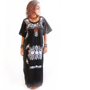 Mexican Dress Bohemian Hippie Embroidered